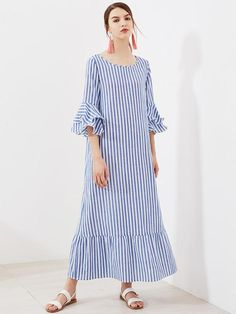 Blue Allover Striped Round Neckline A Line Layered Bell 3/4 Sleeve Ruffle Hem Maxi Dress