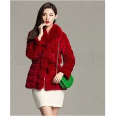 Imported Rabbit Fur Overcoat For Women On Sale, Fox Fur Made Overcoat With Medium And Long Length Design At Amazing Price