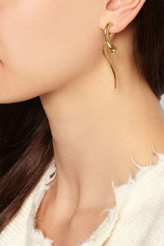 IAM by Ileana Makri | Boa gold-plated diamond earrings | NET-A-PORTER.COM