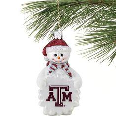 Texas A Aggies Glass Snowman Ornament
