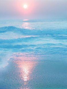 New photography beach ocean water Ideas No Wave, Ocean Beach, Ocean Waves, Pink Ocean, Beach Sunrise, Pink Sand, Sand Beach, I Love The Beach, Blue Aesthetic