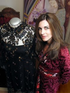 Lace Couture Evening Dress   Burgundy velvet/silk kimono dress   Painting Girl with purple flowers