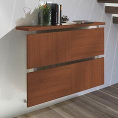 cache radiateur design en panneaux de bois marron et értagère fixée sur la partie haute