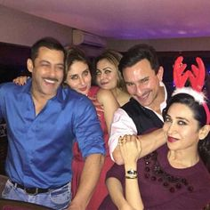 Salman was in a very festive mood, but Karisma, with her hair band, surely stole the show. This image was posted on Instagram by Kareena Kapoor.