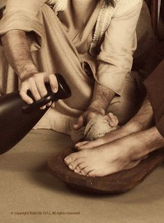 Jesus did the lowly servant's chore of washing feet, teaching His disciples to serve one another.