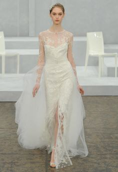 Monique Lhuillier Spring 2015 Wedding Dresses | TheKnot.com | Exquisite Long Sleeve Heavily Beaded Column/Sheath Wedding Gown With Detachable Silk Tulle Chapel Length Train~~~~