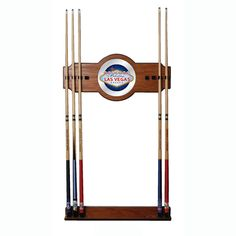 Trademark Commerce LV6000 Las Vegas 2 piece Wood and Mirror Wall Cue Rack