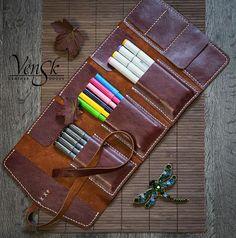 Leather Pencil Case Handmade . Colored Pencil Holder. Pen
