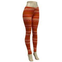 Red and Orange Greek Key Pattern Stretch Leggings