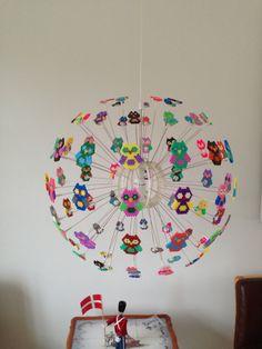 Hama beads lamp with owl IKEA lamp diy