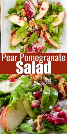 4 Points About Vintage And Standard Elizabethan Cooking Recipes! Pear Pomegranate Salad Recipe Is A Favorite Side Dish For Thanksgiving And Christmas. A Savory Pear Recipe With Gorgonzola And Walnuts With A Delicious Balsamic Vinaigrette. Thanksgiving Side Dishes, Thanksgiving Recipes, Holiday Recipes, Christmas Salad Recipes, Thanksgiving Feast, Salad Recipes For Dinner, Dinner Salads, Dessert Recipes, Pomegranate Salad