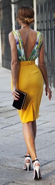 Mustard Pencil Skirt