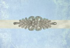 Art Deco Rhinestone Pearl Bridal Sash Great by BridalEnchantment