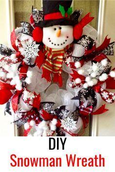 DIY Christmas Wreath • Make a Snowman Wreath For Front Door #christmasdecor #wreaths #diy