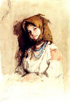 Nicolae Grigorescu - Portrait of a little peasant girl Famous Artists, Great Artists, L'art Du Portrait, Russian Painting, Classic Paintings, Impressionist Paintings, Old Art, Artist Art, Painting & Drawing