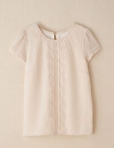 Scalloped Silk Top