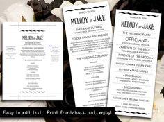 DIY Modern Typography Wedding Program by PaintTheDayDesigns, $10.00