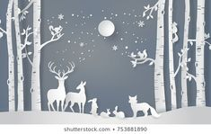 Illustration of winter season and Merry Christmas . The animal in forest with full moon,paper art and digital craft style Illustration of winter season and Merry Christmas . The animal in forest with full moon,paper art and digital craft style Christmas Origami, Christmas Crafts, Christmas Decorations, Merry Christmas, Winter Forest, Winter Snow, Diorama, Winter Illustration, Forest Illustration
