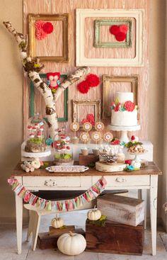 owl birthday dessert table