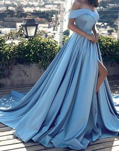 Light Blue Off The Shoulder Ball Gown Princess Prom Dress With Side Slit