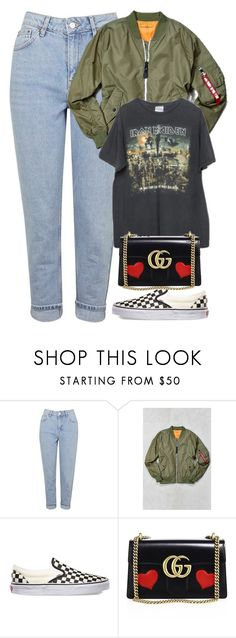 """Untitled #985"" by zarryalmighty ❤ liked on Polyvore featuring Topshop, Alpha Industries, Brandy Melville, Vans, Gucci and vans"