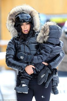 Kim Kardashian and North West hit the slopes in Montana #dailymail