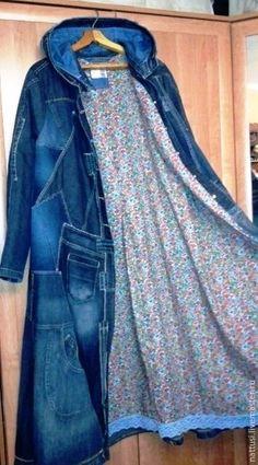 """Купить Бохо-плащ джинсовый """"Азбука Морзе"""" - синий, бохо-стиль, плащ женский"""