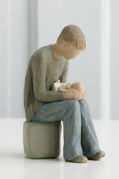 """This wonderful resin figure of a father holding his new child is heartfelt and perfect for any Father with a new baby, or one on the way!    Measures: 6""""   New Dad Figure by Willow Tree by Demdaco . Home & Gifts - Home Decor - Decorative Objects Dallas, Texas"""