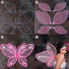 Artsy Tips for Making Beautiful and Attractive Fairy Wings super easy fairy wings Diy Fairy Wings, Diy Wings, Sewing For Kids, Diy For Kids, Crafts For Kids, Nylon Crafts, Sewing Crafts, Sewing Projects, Hanger Crafts
