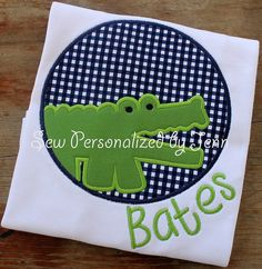 Boys Summer Alligator Gator Personalized and Appliqued Shirt on Etsy, $23.00