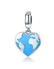jewellery: Silver 925 Heart Map with Blue Enamel Charm!