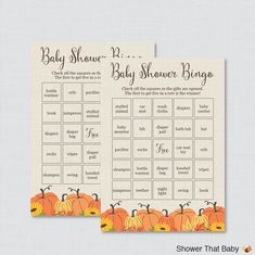 Pumpkin Baby Shower Bingo Cards - Printable Blank Bingo Cards AND PreFilled…