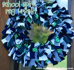My Heart's Desire: School Spirit Rag Wreath | repinned by www.imagine.willowhouse.com