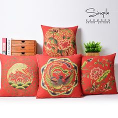 Red Oriental Chinese Dragon Phenix Cushion Cover Chinese Style Lumbar Cushion Throw Pillow Case Wedding Gift Mandarin Duck Crane-in Cushion Cover from Home & Garden on Aliexpress.com   Alibaba Group