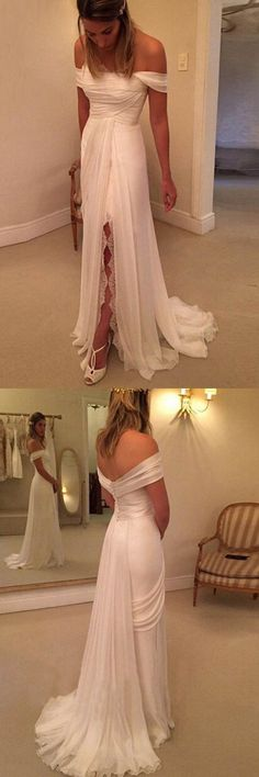 Off Shoulder Wedding Dress Side Split Beach Wedding Dresses Long Wedding Gowns Casual Affordable Bridal Dresses