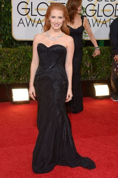 Jessica Chastain in Givenchy by Riccardo Tisci. The Golden Globes