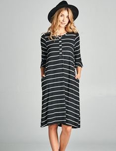 7c5769bf36 Preston 3 4 Bell Sleeve Black Stripe Nursing Friendly Dress