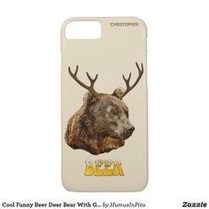 Cool Funny Beer Deer Bear With Glass Beer Letters iPhone 7 Case