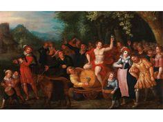 DER TRIUMPH DES BACCHUS Öl auf Holz. Parkettiert. 35 x 56 cm. Gerahmt. Das querformatig angelegte Gemälde zeigt aus dem Zentrum nach rechts gerückt einen...