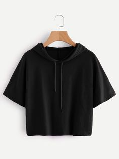 SheIn offers Hooded Drawstring Tee & more to fit your fashionable needs. Girls Fashion Clothes, Teen Fashion Outfits, Outfits For Teens, Girl Outfits, Crop Top Outfits, Cute Casual Outfits, Vetement Fashion, Tumblr Outfits, Teenager Outfits