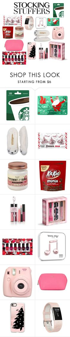 """Gift Guide: Stocking Stuffers"" by forever-young-and-beautiful ❤ liked on Polyvore featuring High Point Design, Hershey's, Vineyard Hill Naturals, Laura Geller, Victoria's Secret, Deborah Lippmann, Fujifilm, Furla, Casetify and Fitbit"
