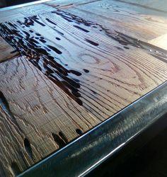 Reclaimed Oak and steel writing desk.