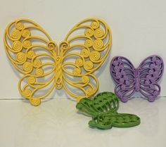 Vintage Upcycled Burwood Butterflies Yellow Green and Purple Wall Hangings Shabby Chic USD) by SewNiceandPaint Upcycled Vintage, Vintage Decor, Home Interior Catalog, Upcycle Home, Hearts And Roses, Wall Candle Holders, Green And Purple, Yellow, Purple Walls