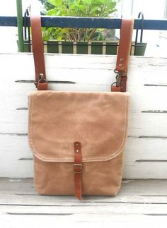 Free Shipping Tan Waxed Canvas Mini Backpack with Removable