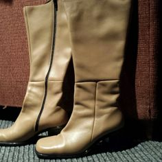 FLASH SALE!! Via Spiga Cattini knee high boots. Chunky heel with zipper on the side.  These boots are in excellent condition.  Look up online. ......high end quality.  Bone color Via Spiga Shoes Heeled Boots
