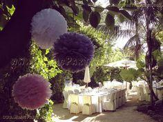 Pompones Medianos en blanco, rosa y lila Boda Campestre Vintage -  Vintage Wedding