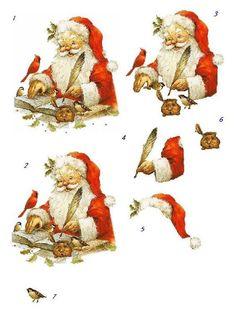 le père Noël en pleine écriture http://www.pinterest.com/annamariec19773/decoupage-ideas/