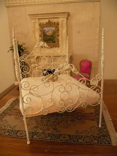 Dollhouse Miniature 1:12 Scale Artisan Un-dressed Wrought Iron Bed Lillie. $65.00, via Etsy.
