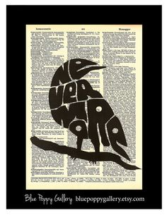 Nevermore Edgar Allan Poe Raven with Nevermore in bird art dictionary page illustration book print Buy 3 get 1 FREE