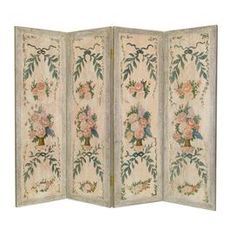 Birch wood room divider with a hand-painted floral motif.    Product: Room divider   Construction Material: Solid birch wood   Color: Multi  Features: Flowers in vases theme   Hand-painted  Will enhance any dcor   Dimensions: 48 H x 68 W (overall)